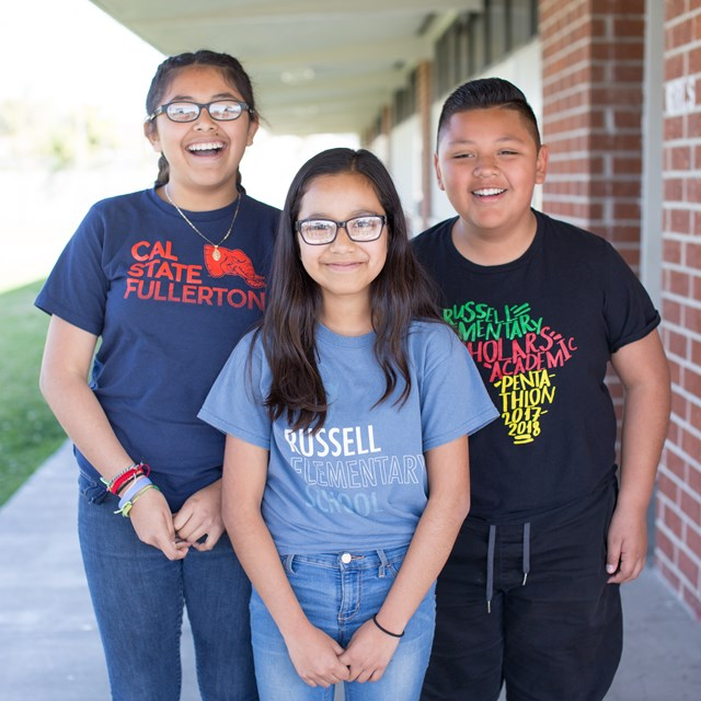 Russell students show off their school spirit and college goals.